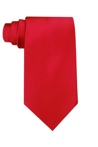 Solid red polyester tie]()
