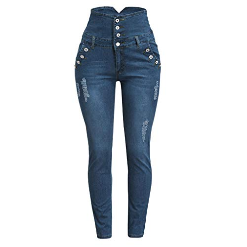Women Plus Size Four-Breasted Ripped Stretch Slim Denim Skinny High Waist Jeans