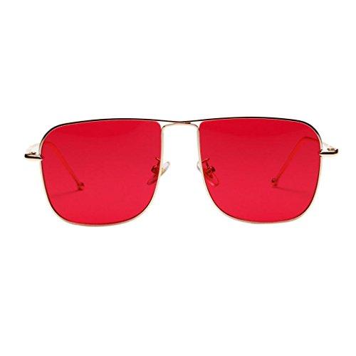 Soleil Protection Baoblaze de Mode Mirroir UV Carré Lentille Lunettes Rouge Femme Homme EqUqw6