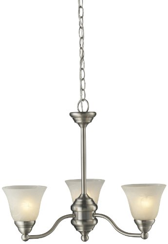 Z-Lite 2110-3 Athena Three Light Chandelier, Steel Frame, Brushed Nickel Finish and White Swirl Shade of Glass Material