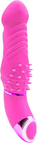 Pure Love 11,4-cm-Silikon-Rhythmus-Vibrator, Gerippt mit Borsten, Mehrfachfunktion, Wasserdicht, LED, Pink, 0,12 kg