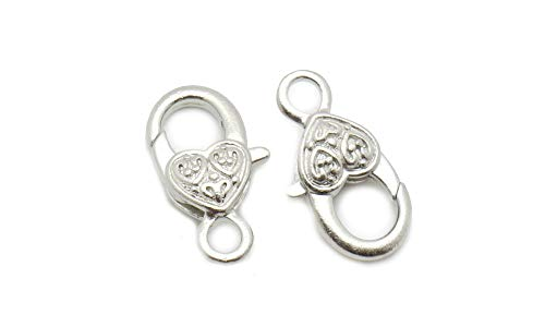 - TheTasteJewelry 13x27mm Lobster Clasp Heart Silver Tone Lot 10 Pcs Findings Jewelry Making Finishings
