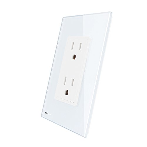 LIVOLO White US Standard Vertical Duplex Receptacle Electrical Outlets With Tempered Glass Panel(15A),AC 110~220V,VL-C5C2US-11