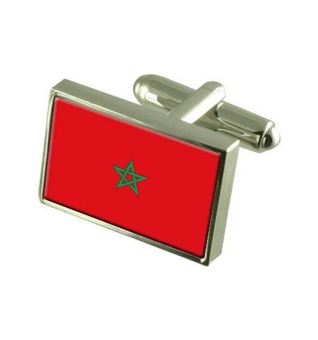 Maroc Boutons de manchette drapeau avec select pochette cadeaux