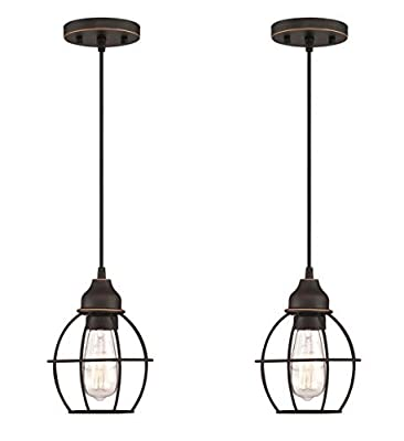 LIT-PaTH Pendant Lighting Fixture for Kitchen and Dining Room, Hanging Lighting Fixture, E26 Medium Base, Metal Construction with Oil Rubbed Bronze Finish, Bulb not Included, 2-Pack