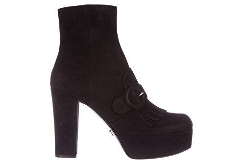 Prada Suede Heels (Prada Women's Suede Heel Ankle Boots Booties Black US Size 8 1TP238_008_F0002)