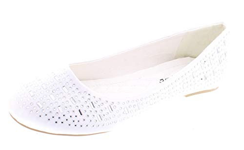 - Karma Womens Sparkle Dress Shoes,Cute Rhinestone Ballet Flats for Women, Wedding Bridal Flat Dressy Shoe White 9 M US