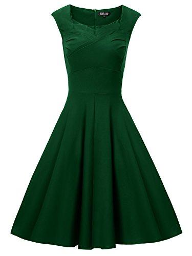 Gigileer - Vestido de algodón para mujer, estilo vintage, años 50 Verde