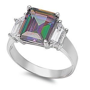 11MM Sterling Silver FIRE Simulated Rainbow Topaz Mystic Rectangle CLEAR CZ Ring (Mystic Fire Topaz Emerald)