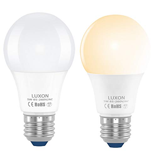 Dusk to Dawn Light Bulb 5-Watt Sensor Lights Bulb Auto on/off A19 E26 Base Indoor Outdoor LED Light Bulbs 450 Lumens 2700-Kelvin Warm White Night Lights Pack of 2 By LUXON