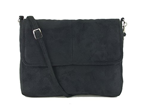 Cross Clutch Shoulder in Faux Black Bag Suede LONI Body Handbag AtBqBW