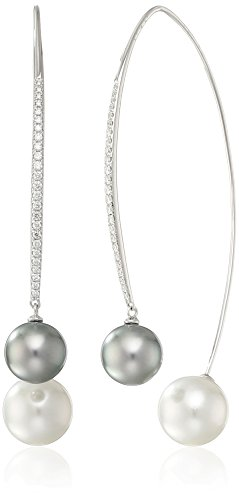 Tara Pearls High/Low Collection 18k White Gold 9x11mm Tahitian Pearl and White South Sea Pearl Drop Earrings (1/3cttw, G-H Color, SI1-SI2 Clarity)