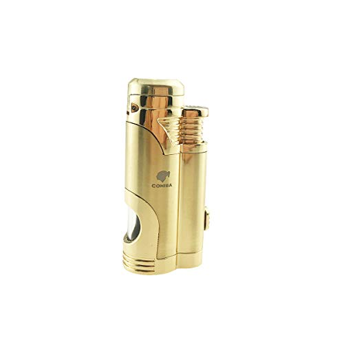 Cohiba Cigar Torch Lighter with Punch Double Torch Jet Flame Butane Refillable Lighters (Without Gas)