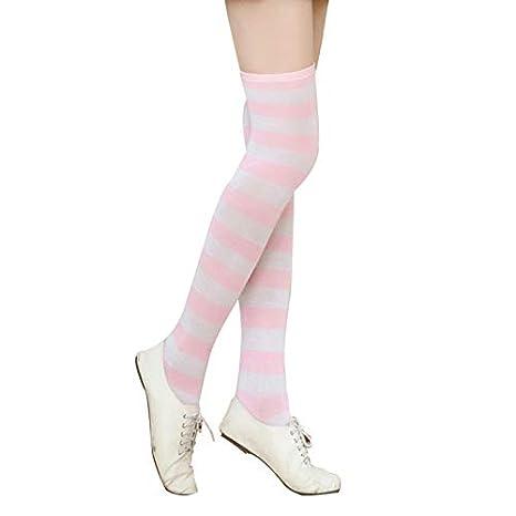 Hosaire 1 par Calcetines Largos a Rayas de Deporte Calcetines Largos Señoras Calcetines Mujer Sobre la