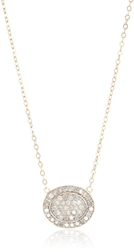 10k Yellow Gold Pave Diamond Oval Halo Necklace (1/2 cttw, I-J Color, I3 Clarity), 18