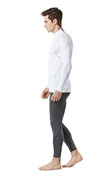 Tesla Tm-mut12-wht_large Men's Mock Long-sleeved T-shirt Cool Dry Compression Baselayer Mut12 5