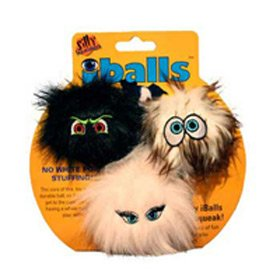 Tuffy`s Dog Toys Silly Squeakers Iballs Black, Brown, Pink, Small 2 Inch 3 Pack Chew Toys, My Pet Supplies