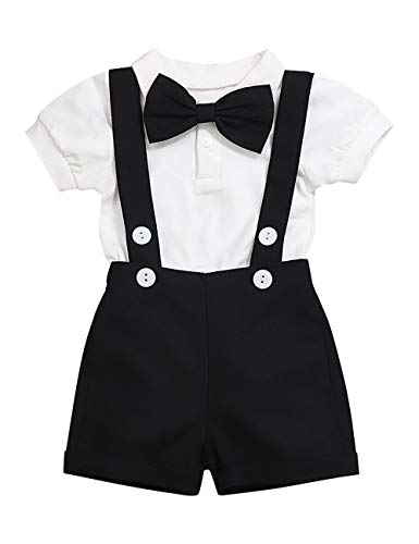 Baby Boy Clothes Gentleman Bowtie Romper and Overalls Suspenders Pants Wedding Tuxedo Outfits (Black, 12-18 Months)]()