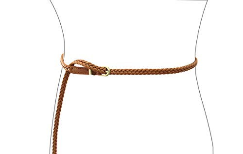 Women Slim Belt PU Leather Knitted Design Fashion Waist Belt for girls (tan) (Skinny Braided Belt)