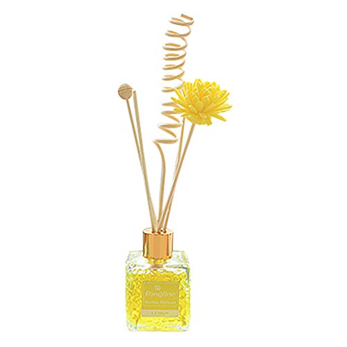 Gotian Reed Oil Diffusers with Natural Sticks Glass Bottle and Scented Oil for Bathroom Bedroom Living Room Office for Gift Idea & Stress Relief 80ML (Yellow)