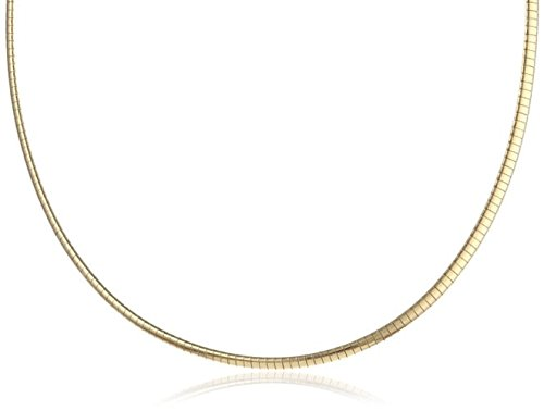 (2mm Italian (18K-Gold Plated) .925 Sterling Silver FLAT DOME Omega Chain Necklace Nickel Free 16in, 18in (Gold & Silver Reversible))