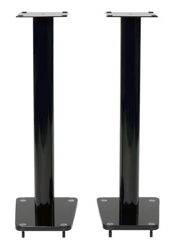 TransDeco 32 inch Speaker Stand Glass & Steel in Gloss Black