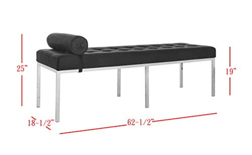 Safavieh FOX6240B Home Collection Xavier Tufted Bench, Black by Safavieh (Image #2)