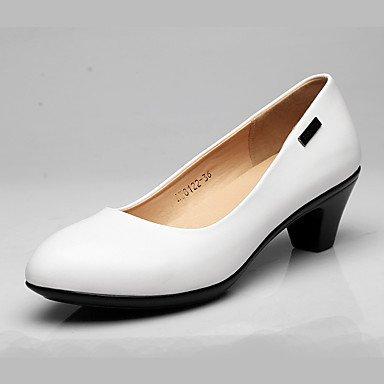 9'5 Robusto Otoño Tacones Zapatos Cuero Tacón Negro Primavera Formales Mujer Black 7'5 Blanco Lvyuan Cms ggx xw0BFzwO