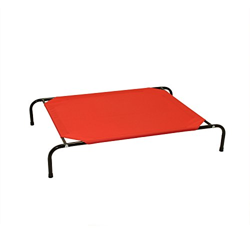 ALEKO EDB01-S-RED Raised Pet Cot for Camping Travel Elevated Foldable Dog Cat Bed 32 x 23 x 8 Inches Red