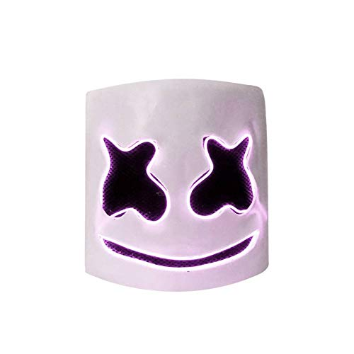 Smartcoco DJ Mask Helmet Head LED Light up Mask for Halloween Mask Props Full Head Rubber Latex Mask for Music Festival Party Halloween Costumes (Purple)