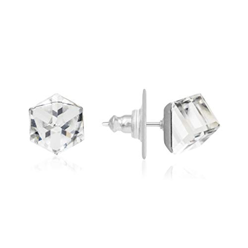 Silver & Co Stud Earrings with White Clear Swarovski Square Crystal 6mm