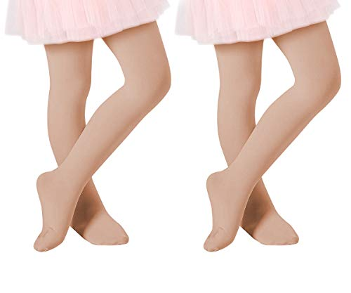 Century Star Ultra-Soft Footed Dance Sockings Ballet Tights Kids Super Elasticity School Uniform Tights For Girls 2 Pack Nude