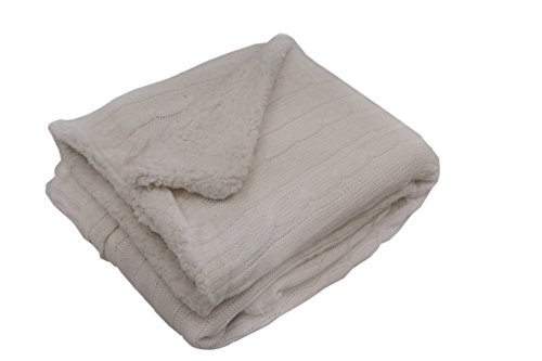 (posh home Sweater Cable Knit Throw with Ultra Soft Sherpa Lining-Reversible-50x60 (White))