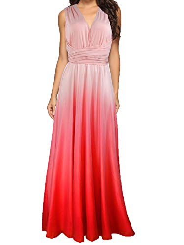 CHOiES record your inspired fashion Women's Gown Dress Multi-Way Strap Wrap Convertible Maxi Dress (X-Large, Tie-Dye-Pink) ¡­