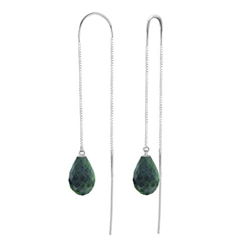 6.6 Carat 14k Solid White Gold Dyed Briolette Emerald Threaded Earrings by Galaxy Gold