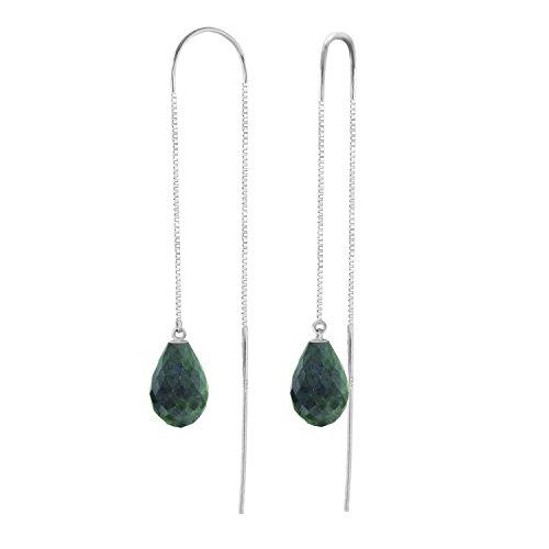 6.6 Carat 14k Solid White Gold Dyed Briolette Emerald Threaded Earrings (White Briolette Earrings Gemstone Gold)