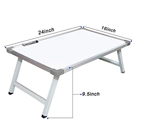 MOMAI® Multi Purpose Foldable Laptop Study Writing Bed Breakfast Tray Table for Children with Whiteboard Paper Holding Clip
