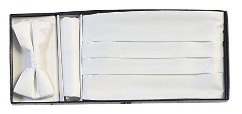 White Cummerbund Set (Gioberti Boys' Satin Formal Bow Tie, Pocket Square, and Cummerbund Set, White)