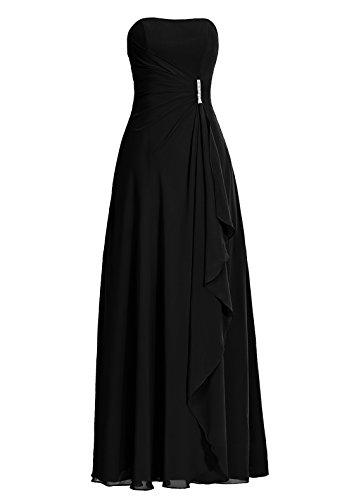 Dresstells®Vestido De Mujer Fiesta Boda Largo De Gasa Sin Tirantes Negro