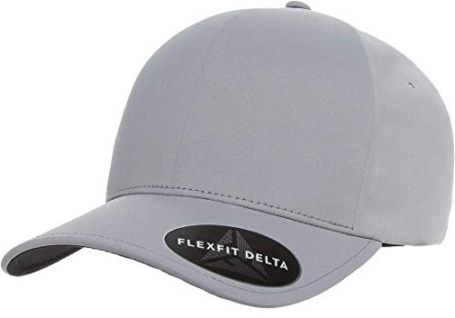 (Flexfit Delta Premium Fitted Ballcap | Seamless, Lightweight, Water Resistant Cap w/Hat Liner (Small/Medium) Silver)