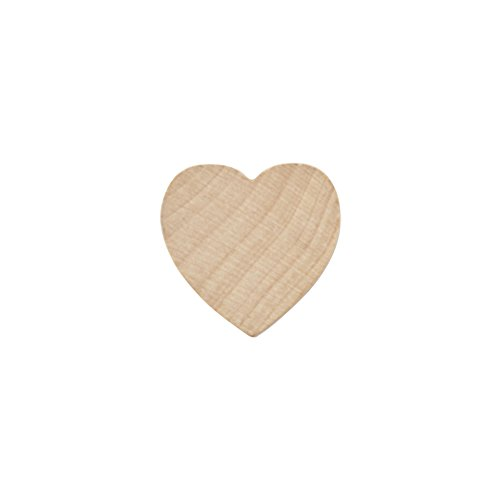 "Wood Shape Cut Out (Wood Heart 1 Inch, Natural Unfinished Wooden Heart Cutout Shape, Wood Hearts (1"" Tall x 1/8"