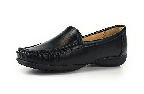 Pierre Dumas Womens Hazel-7 Black Leather Loafers Comfort Shoes (7.5, Black)