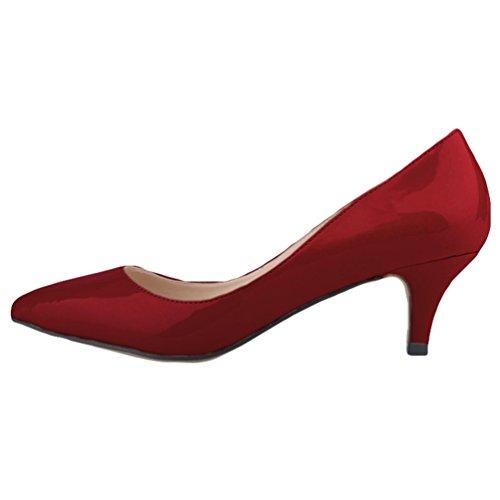 Ragazze Synthetic Tacco Scarpe Scarpe Kitten WanYang Spillo Vino Tacco Heel a Shoes Elegante a col Punta Donne BYY5wCq