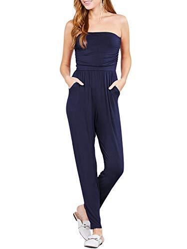 (BEYONDFAB Women's Strapless Tube Top Front Slanted Pocket Jumpsuit Navy L)
