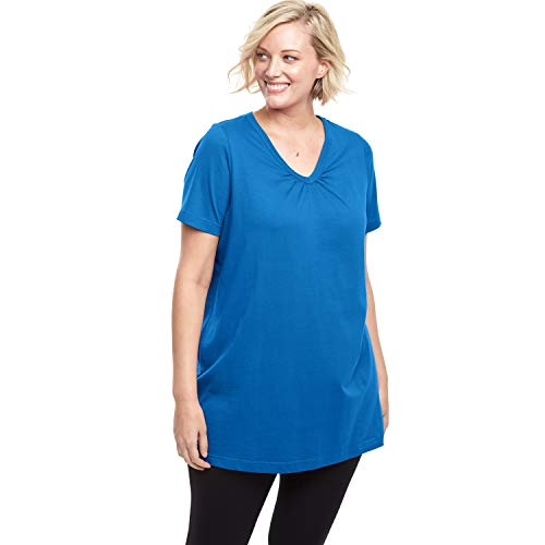 Woman Within Women's Plus Size Perfect Shirred V-Neck Tunic - Bright Cobalt, 1X