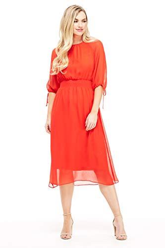 Maggy London Women's Petite Gauze Chiffon Smocked Waist Dress, red/Orange, 10P - Maggy London Chiffon Dress