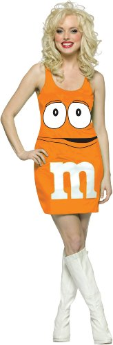 Rasta Imposta M&M's Tank Dress, Orange, Adult (Orange M&m Costume)