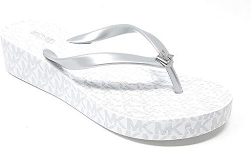 Michael Kors Bedford Glam Flip Flop, Silver/White