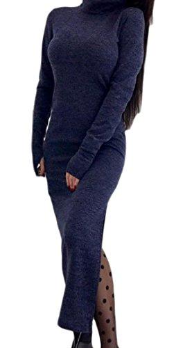 Women Elegant Cocktail Black Neck Cut Coolred Fit Out Dress Sweater Knit Hi UzqFwxtPd