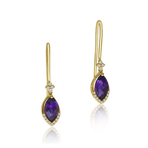 Gold Marquise Amethyst Earrings - 8